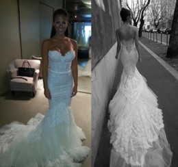 Wholesale Cathedral Train Sweetheart - Inbal Dror 2015 Fall Winter White Lace Mermaid Wedding Dresses With Sweetheart Slim Corset Bodice Tulle Trimed Cathedral Train Bridal Gowns
