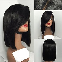 Wholesale long bob wigs bangs - Fashion Periuvian Virgin Hair Bob Lace Wigs Straight Lace Front Human Hair Wigs Short Virgin Hair Bob Wig with Side Bang