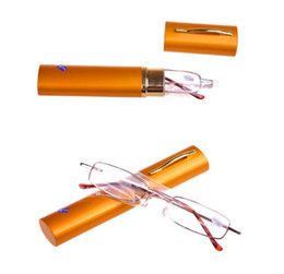 Wholesale Glass Pen Cheap - Portable Cheap Metal Glasses Reading With Pen Clic Reading Glasses Tube Reading Glasses Frame Women Men Reading Glasses Free DHL