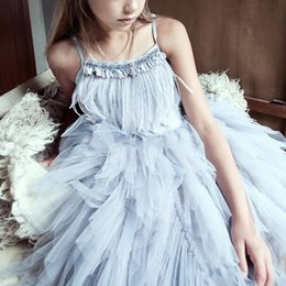 Wholesale Girls Tull Dresses - 2017 Cute Spaghetti Feather Tutu Flower Girls For Wedding Sequins Rhinestone Beads Tull Ball Gown First Communion Dresses Pageant Dresses