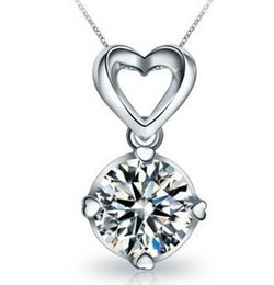 Wholesale Luxury Statement - 100% 925 sterling silver Luxury quality 3 Ct SONA Simulated Diamond Halo Pendant Necklaces! Statement Necklace,Necklace 2015,choker,
