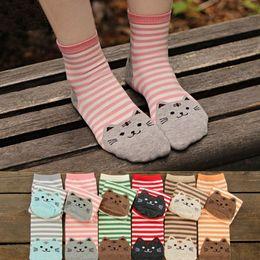Wholesale Cute Adult Socks - Cartoon Women Socks Fashion Korean Stirpe Cat Cotton Adult Socks Cute interest Striped Teenager knee-socks Cheap Socks