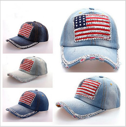 Wholesale Wholesale Denim Hats - Quality Washed Denim Bling Rhinestone USA National Flag Baseball Caps Curved Cotton Sports Golf Blue Jean Hats For Adults Mens Womens Sale