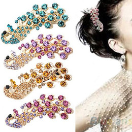 Wholesale Peacock Hair Barrettes - 2016 Hot Selling New Fashion Peacock Full Crystal Rhinestones Hairpin Hair Clip Headwear Barrettes Accessories for Women 00WX