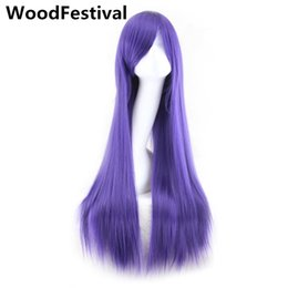 Cosplay Black Long Straight Wig Bangs White Blonde Pink Red Purple Brown Womens Wigs Synthetic Hair Heat Resistant Woodfestival Coupons