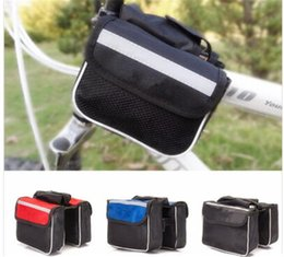 Wholesale Shipping Tube Handle - Free Shipping 3 Colors Cycling Outdoor Traveling Road Bicycle Bike Frame Saddle Bag Pannier Front Tube Bags Double Sides B055
