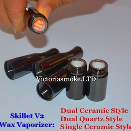 Wholesale Metal Coil Head - Newest Skillet V2 Vaporizer Atomizet Ceramic Quartz coil Head Skillet V2 Atomizer Vapor with Ceramic Quartz chamber Coil wax vaporizer eCigs