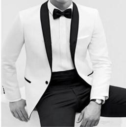 Wholesale Black Pinstripe Dress Pants - Men's Wedding Dress suits Prom Clothing White Groom Tuxedos Men's Wedding Dress suits Prom Clothing (Jacket+pants+tie)