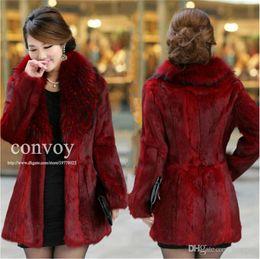Wholesale Long Sleeve Winter Womens Tops - Top quality Faux Fur luxury Lapel Neck long womens Faux Rabbit Hair fur noble grace body slim Winter Warm coat Plus sizes WT28