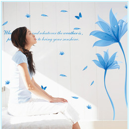Wholesale Decoration Flower Pieces For Paper - 2016 New Crystal Lotus Flower Butterfly Wall Sticker Crystal Water Lily Wall Paper Living Room Wall Decoration Home Decor