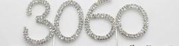 100 pz 45mm Argento Diamante Strass Torta Topper Compleanni Numeri di Nozze Bastone di Cristallo Accessori per Torta Decorazioni per feste da numeri di strass di compleanno fornitori