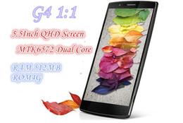 Wholesale Dual Sim Phone G4 - 5.5 Inch QHD Screen G4 Dual Core MTK6572 Android 4.4 3G Smart Mobile Phone Single Sim Unlocked 4GB ROM 512M RAM Cell Phone