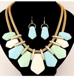 Wholesale New Model Necklace - 2016 New burst models exaggeration resin necklace + earring Jewelry Sets