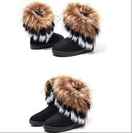 Bottes de neige en fourrure de lapin en Ligne-2015 Automne Hiver Chaud haute longue neige bottes artificielle renard fourrure de lapin en cuir gland femmes chaussures livraison gratuite