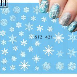 Wholesale Fingernails Art - Wholesale- Jiji Trendy Nail 1 Sheet Beauty White Snowflake Decals Winter Styles Water Nail Art Stickers Watermark Fingernails Decals STZ421