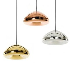 Wholesale Led E27 Cheap - Cheap chandelier Lights Tom Dixon Void Copper Brass Bowl Mirror Glass LED Edison G4 E27 Pendant Lamps Incandescent Ceiling Lightings bl-011