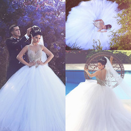 Wholesale Gorgeous Pink Ball Gowns - Gorgeous Major Beading Crystals Ball Gown Wedding Dresses 2016 Plus Size Crew Sheer Neck Sexy Back Puff Tulles Bridal Gowns Arabic BA1006
