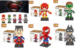 Wholesale Small Plastic Lanterns - LOZ New Spider-Man superman Flash Green Lantern Batman blocks toy small particles assembled Children's toys gift