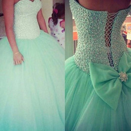 Wholesale Turquoise Long Ball Gowns - New Romatic Mint Turquoise Quinceanera Dresses Sweetheart Crystal Beads Bodice Long Tulle Formal Ball Gown Corset Back Prom Gowns with Bow