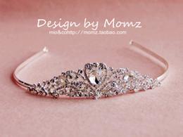 Wholesale Elegant Crystal Tiara - High Quality Shiny Crystal Princess Bridal Crowns Simple Elegant Empire Hair Wedding Accessories Rhinestone Tiaras Bridal Hair Wear