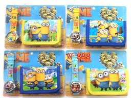Wholesale Cheap Hand Watches - Despicable Me reloj Minion Watch with Box Children Watch and Wallet for Girl Boy Wholesale Cheap Kids Cartoon Watches Purse Set