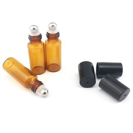 Wholesale Wholesale Amber Glass Bottled - 50pcs lot 5ml Amber Glass Roller Bottles With Metal Ball for Essential Oil,Aromatherapy,Perfumes and Lip Balms- Perfect Size for Travel