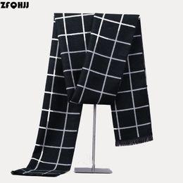 Wholesale Mens Black White Scarves - Wholesale- ZFQHJJ Mens Plaid Winter Cashmere Scarf Wool British Style Plaid Warm Black and White Plaid Scarves Male muffler Men's Cachecol