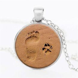 Wholesale Footprints Pendant - 1pcs lot Vintage Steampunk Beach Feet Photo Cabochon Glass Bronze Pendant Necklace Women Cute Sweater Chain Dog Footprint Jewelry Necklace