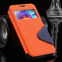 Wholesale S4 Case Window Card - Wholesale-S4 S5 Luxury Brand View Window Flip PU Leather Case For Samsung Galaxy S5 I9600 S4 I9500 Card Slot Hit Color Fashion Phone Cover