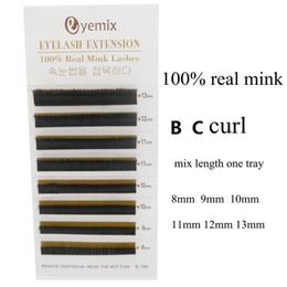 Wholesale Individual Human Hair False - 100% Real Mink Eyelash Extension Mix Length 8-13mm Individual False Eyelash