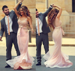 Wholesale Water Pearls Decoration - 2015 Glamorous Blush Pink Prom Dresses Scoop Neckline Pearls Decoration Satin Ribbons Sheer Back Evening Gowns with Court Train 2016