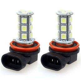 Wholesale Led Car Day Lights - 2015 Hot SalesNew 2x H11 H8 18 LED 5050 SMD Car Day Fog Head light Lamp Bulb Xenon White Free Shipping