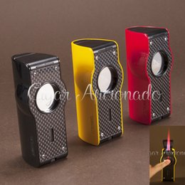 Wholesale Induction Lighters - Wholesale-LUBINSKI Turbo Lighter Carbon Fiber Pattern Laser Touch Induction 4 Torch Jet Flame Gas Cigarette Cigar Lighter W  Cigar Punch