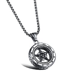 Wholesale Roman Numerals Silver Necklace - Silver Motorcycle Wheel Rim Pendant Necklace Racing Necklace Stainless Steel Rocker Punk Tire Necklace with Roman Numerals