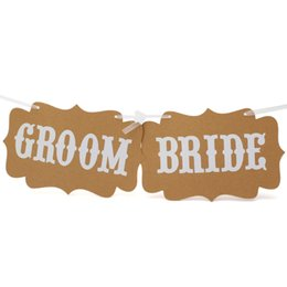 Wholesale Bride Groom Stick - Wholesale-Wedding Casamento Party Events Props Groom Bride Photobooth Funny Decoration Supplies Words Card Hanging Stick Photo Booth