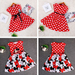 Wholesale Clothes For Girl Minnie - 2015 Summer Dresses For Party Children Clothing Vestidos Girls Cute Minnie Mouse Pink Red Dress tutu princess children Clothing
