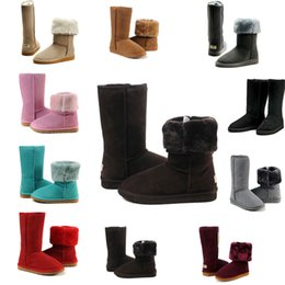 Wholesale Cheap Black High Heeled Boots - wholesale 10 colours 2017 New Arrived Australia Classic snow Boots WGG boots cheap discount winter boost High Quality fashion Knee Boots