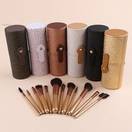 Wholesale Makeup Brush 18 Black - Makeup Brushes 12 PCS Cosmetic Set Eyeshadow Blusher Brush kit +Black Holder Case Make up Brush Maquiagem Pinceis 18