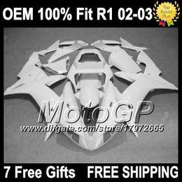 Wholesale Glossy White Yamaha - ALL White OEM+Fairing For YAMAHA YZF-R1 YZF R1 02 03 G100351 YZF R 1 2002 2003 YZF 1000 YZFR1 YZF1000 02-03 Injection Kit Glossy white