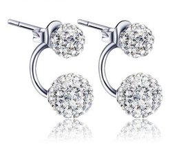 Wholesale Disco Ball Sterling - 925 Sterling Silver Stud Earrings Double Sided Shambala Ball Diamond Crystal Disco Beads Earring Fashion Jewelry for Women Girls High Qualit