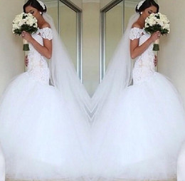 Wholesale Crystal T Back Wedding Dress - Off The Shoulder Mermaid Wedding Dresses Bateau Neckline Bridal Gowns With Appliques Sheath Column Lace-Up Elegant Women Wedding Dress