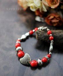 Wholesale Popular Female Model - Mash female models Tibetan silver bracelet popular clownfish coral coral beads Tibetan silver bracelet Jewelry #PH4773