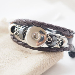 Wholesale European Charm Bead Chain - handmade black orange brown snap leather Bracelets Fit Snaps Buttons 18mm with adjustable knot Free Shipping giger snap jewelry