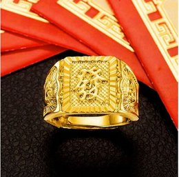 Wholesale Yellow Gold Filled Jewelry - more style Get rich yellow wedding ring for men,18k gold plated marry bridegroom jewelry accessories