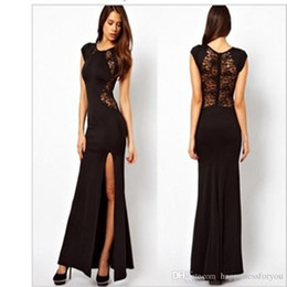 Wholesale Trendy Elegant Gowns - dresses now Fashion Sexy Trendy Elegant Womens Slim Long Maxi lace Gown Evening Cocktail Party Dress