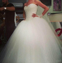 Wholesale Top Beautiful Wedding Dresses - Beautiful Top Made 2015 Princess Ball Gown Wedding Dresses Sleeveless W1425 Romantic Long Bridal Gowns Tulle Shiny Fashion Modern Princess