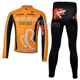 Wholesale Euskaltel Team - Euskaltel Team Cycling Jersey Set High Performance Long Sleeve Anti Pilling Cycling Jersey Shirt and Pants Orange Bike Clothes