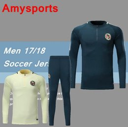 Wholesale Club America White Jersey - 2017 2018 CLUB AMERICA Jacket Training suit Kits Jersey Survetement 17 18 Soccer Tracksuit Chandal Maillot de foot football shirts