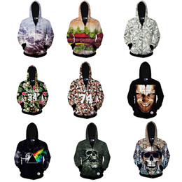 Wholesale Punk Skull Print - Punk Tide Men Hoodies iswa Men 3D three-dimensional Body Skull Female lovers Hooded Sweater Hoodie Zipper Cardigan Sport Thin Jacket
