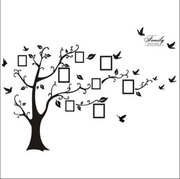 Wholesale Wholesale Family Tree Picture Frames - 200*250CM Family Picture Photo Frame Tree Wall Quote Art Stickers Vinyl Decals Home Decor Beautiful Family